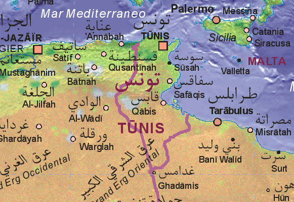 Of Tunisia - Map of tunisia