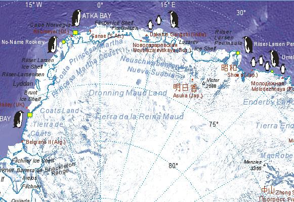 Landkarte von Antarktis (Neuschwabenland/Queen Maud-Land)