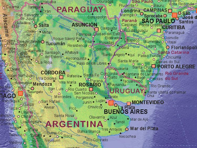 Landkarte Von Argentinien Nord