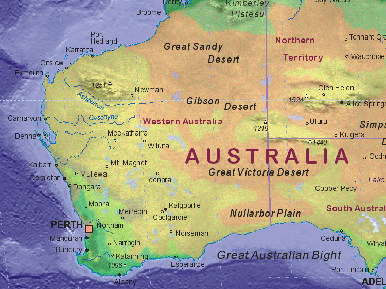 Map of Australia (southwest)