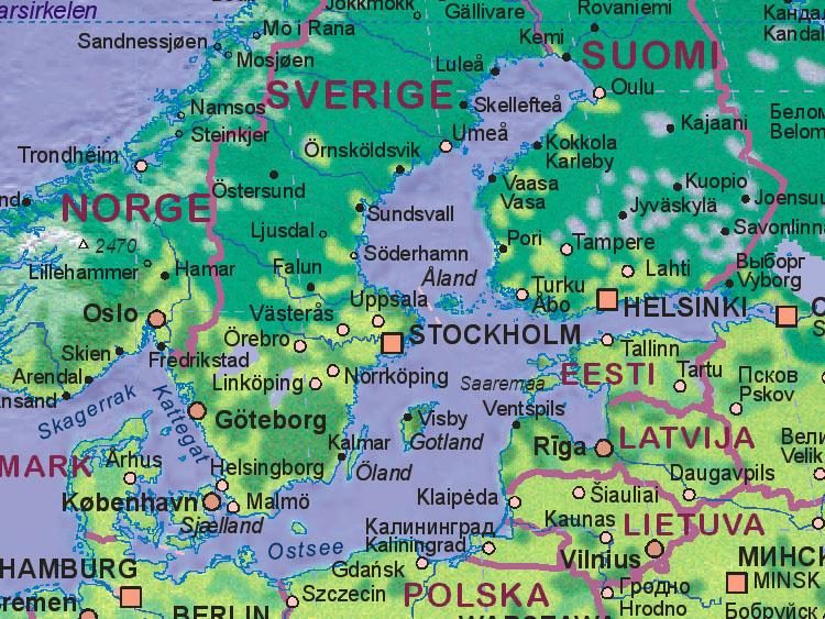 Landkarte von Ostsee [~~~~~]