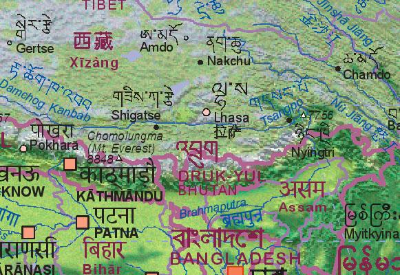 Bhutan Maps Map of Bhutan With Surrounding