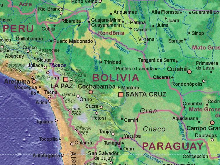 Landkarte Von Bolivien