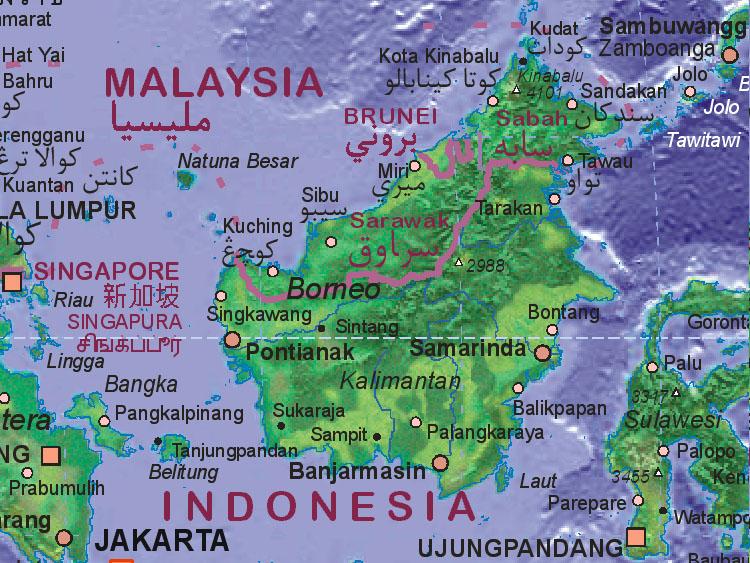 Map of Borneo [ID, MY, BN]