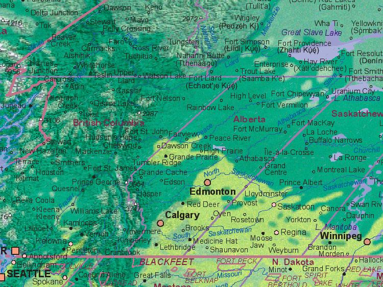 Landkarte von Kanada (Alberta)