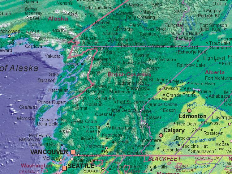 Landkarte von Kanada (British Columbia)
