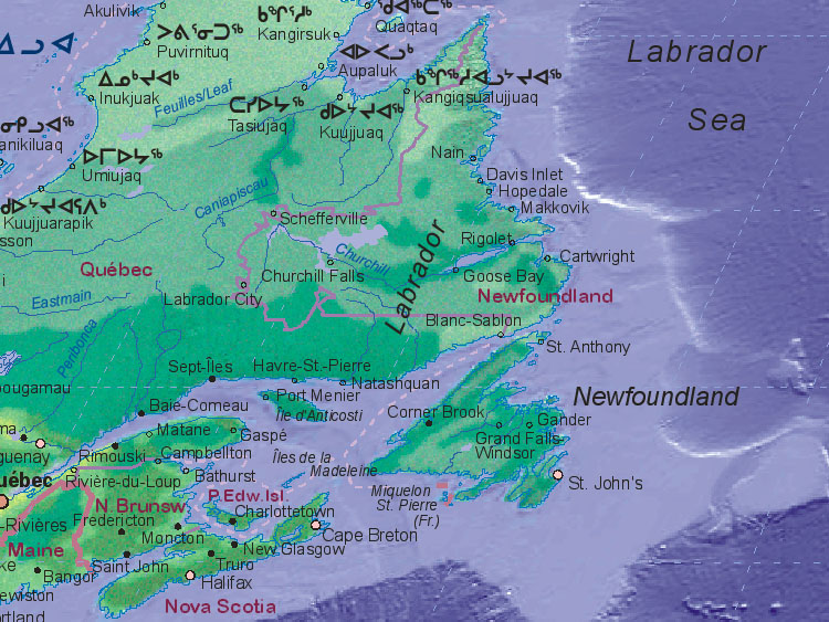 Of Canada Newfoundland And Labrador - Newfoundland map