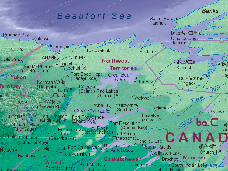 Northwest Territories Canada Map.Map Of Canada Northwest Territories