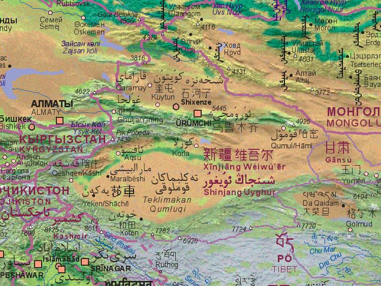 Landkarte von China (West)