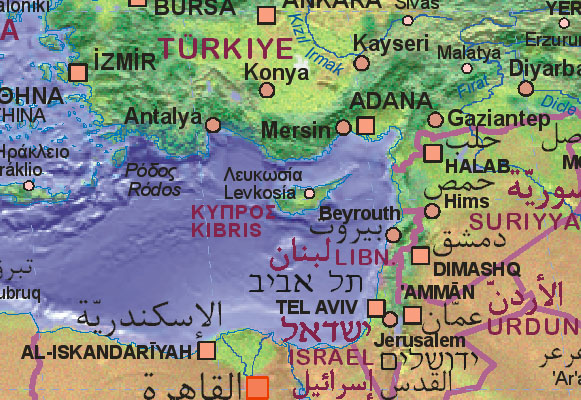 Carte Chypre Israel.Map Of Cyprus