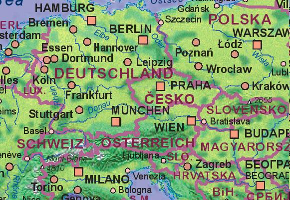 Karte Tschechien.Landkarte Von Tschechien