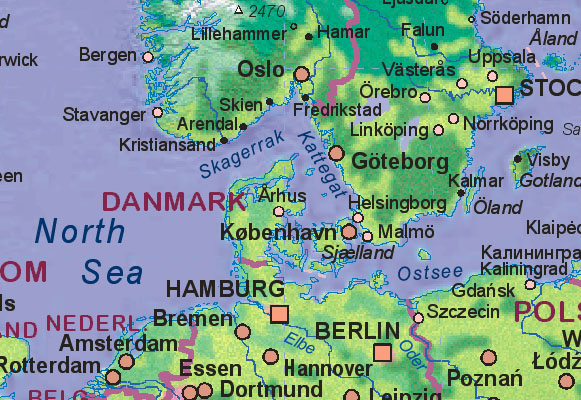 Map of Denmark with surrounding areas. - Landkarte von Dänemark.