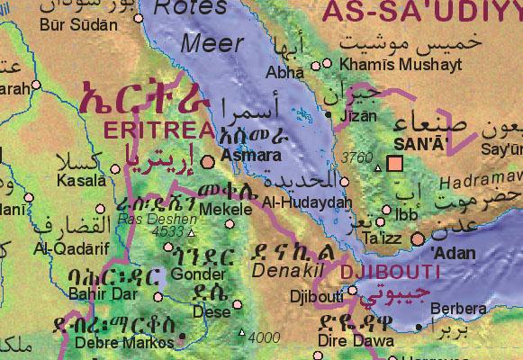 Of Eritrea - Eritrea map