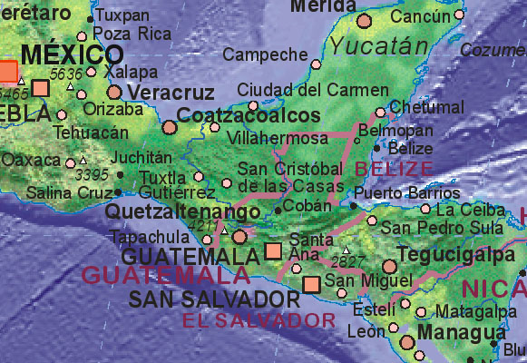 Map of Guatemala with surrounding areas. - Landkarte von Guatemala.
