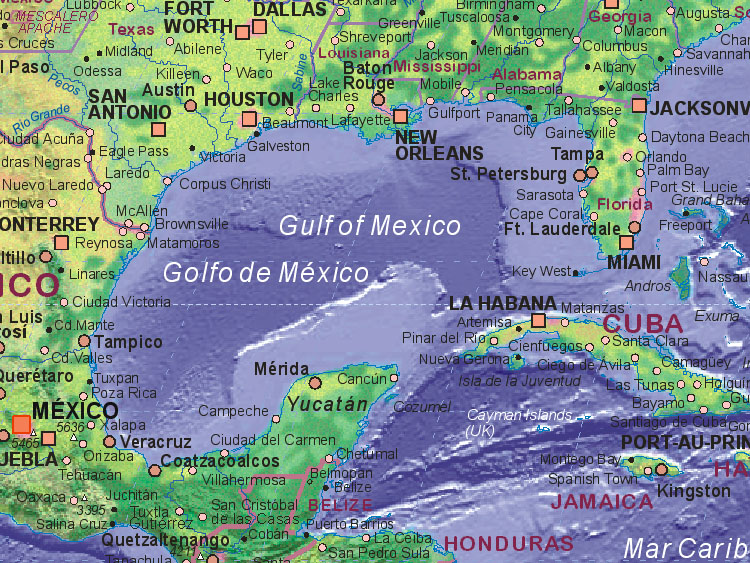Golfo De Mexico Map.Map Of Gulf Of Mexico