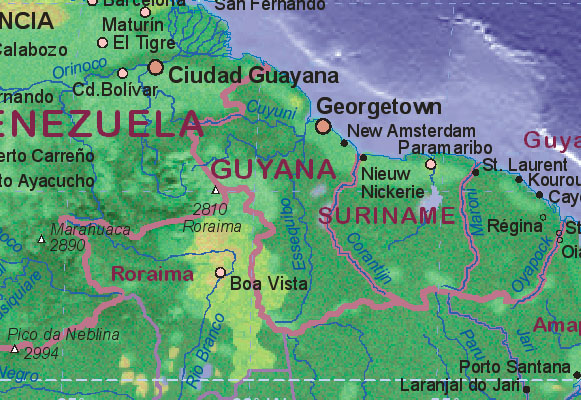 map of guyana showing the towns.  Battles fought andintercontinental guayana, lara state Guayana+map