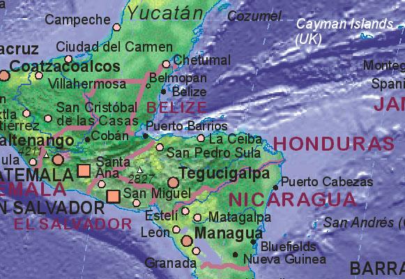tegucigalpa honduras map. Map of Honduras
