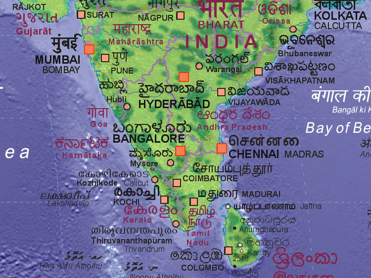 Map of India (south)