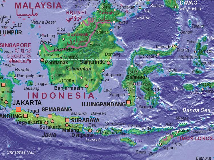 Landkarte Von Indonesien Mitte