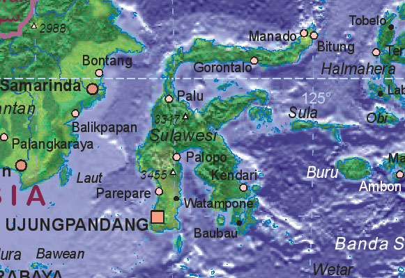 Map of Indonesia (Sulawesi)
