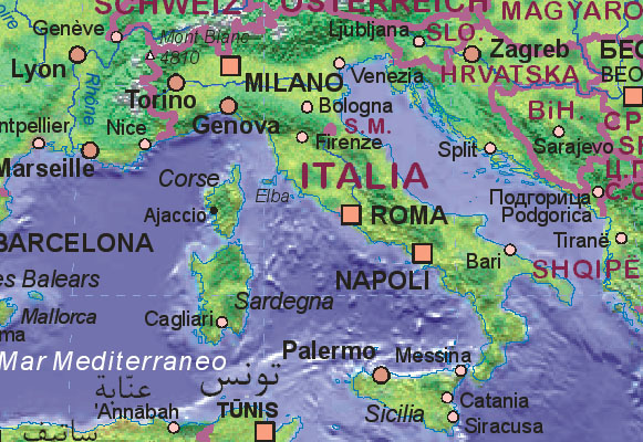 Map Of Italy And Surrounding Areas.Map Of Italy