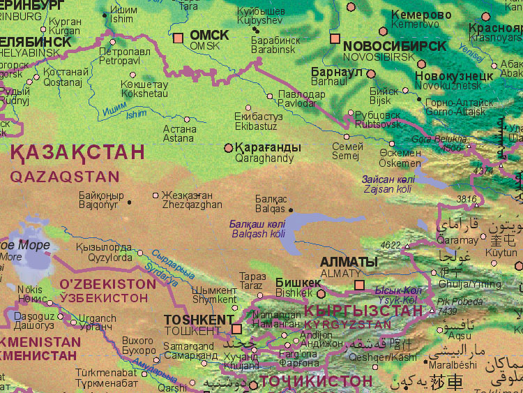 Map of Kazakhstan (east)