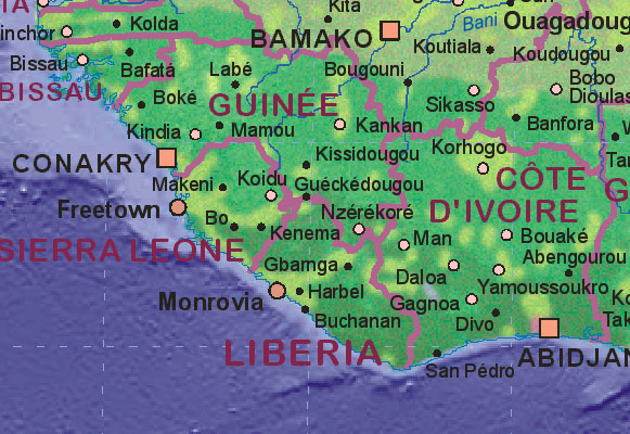 Landkarte von Liberia
