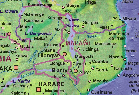 Of Malawi - Malawi map