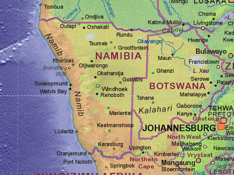 Of Namibia - Namibia map