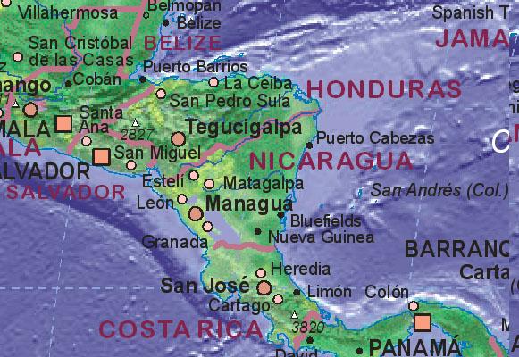 a map of nicaragua. Map of Nicaragua
