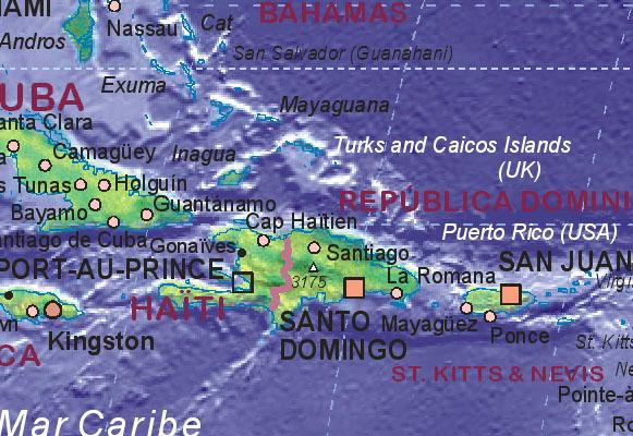 Map of Dominican Republic with surrounding areas.