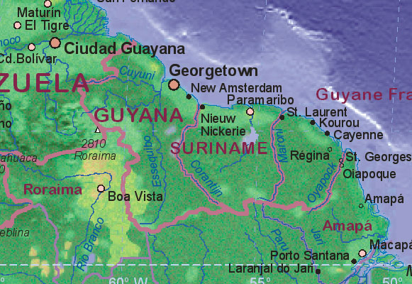 Map of Suriname