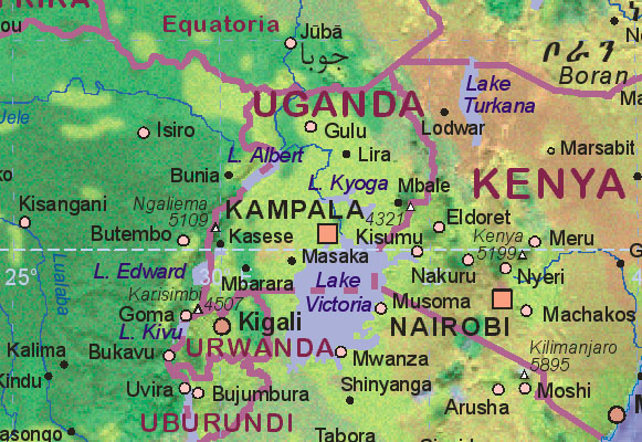 maps of uganda. Map of Uganda