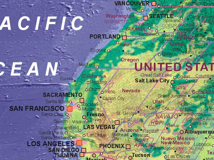 Landkarte Von Usa Westen