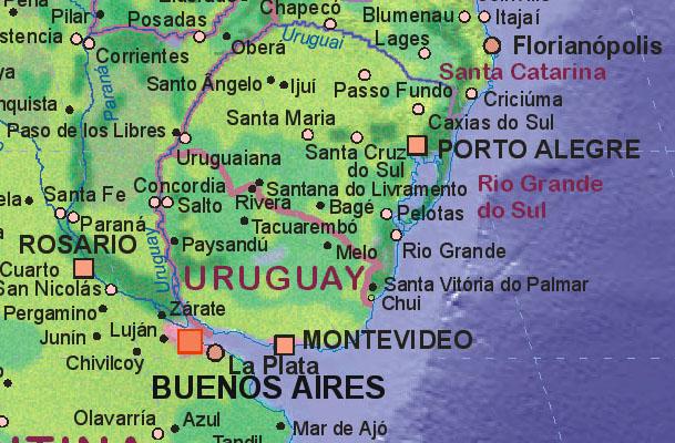 Landkarte Von Uruguay