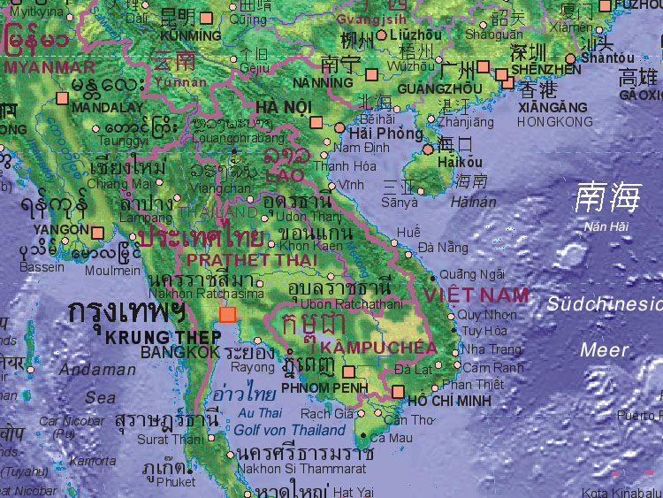 Map of Vietnam with surrounding areas. - Landkarte von Vietnam.