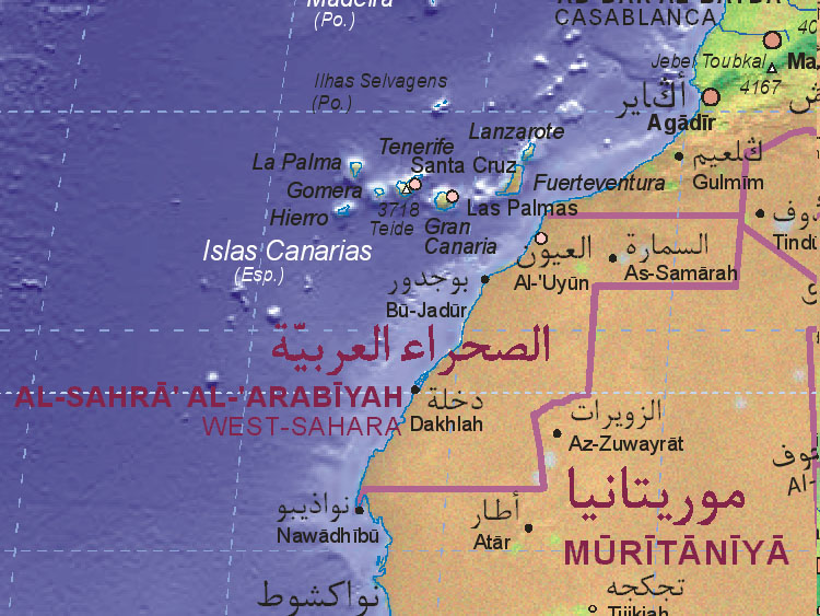 Of Western Sahara - Western sahara map