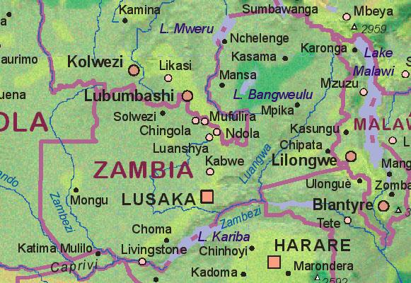 Of Zambia - Zambia map